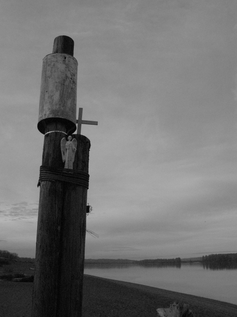 Black and White Photo of home made memorial on Sauvie Island, OR