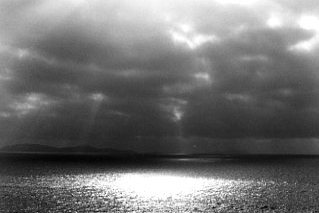 Black and White High Contrast Photo of Sunlight on the Pacific Ocean