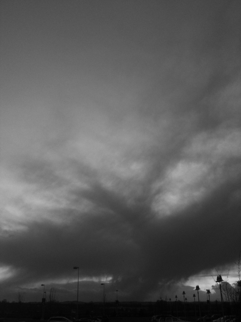 Black and White Photo of dramatic storm clouds