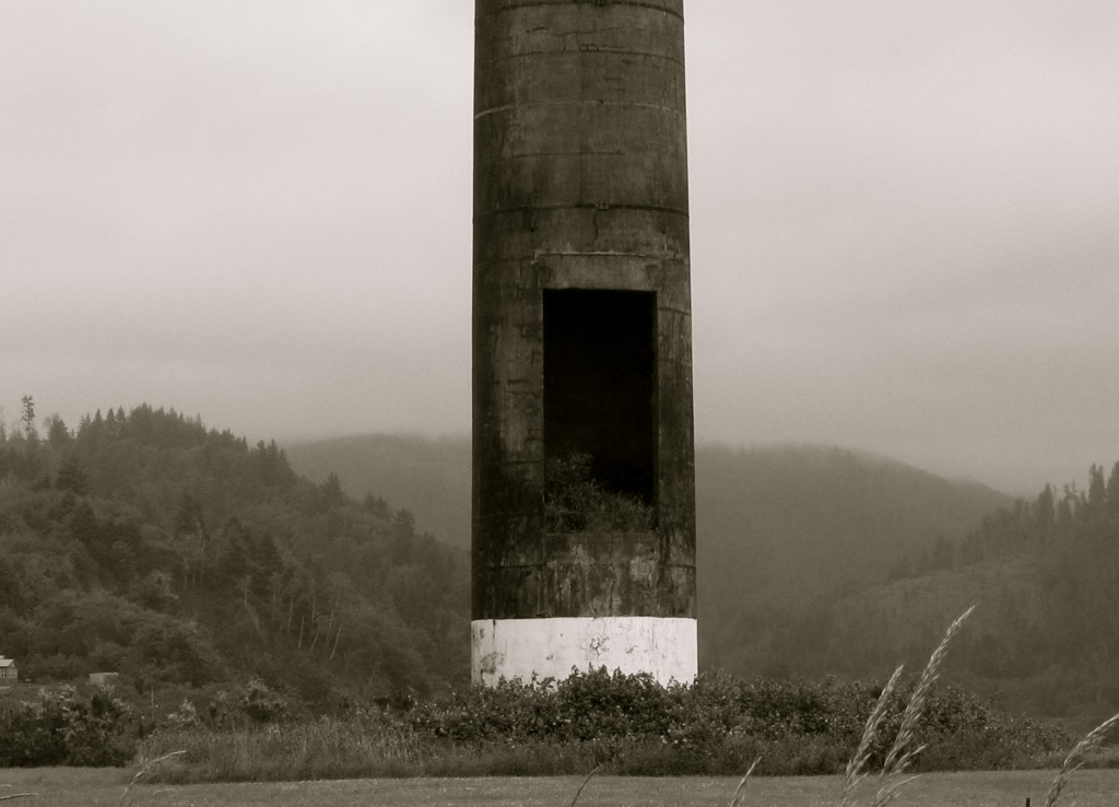 Smokestack in verdant valley. Black and white photo