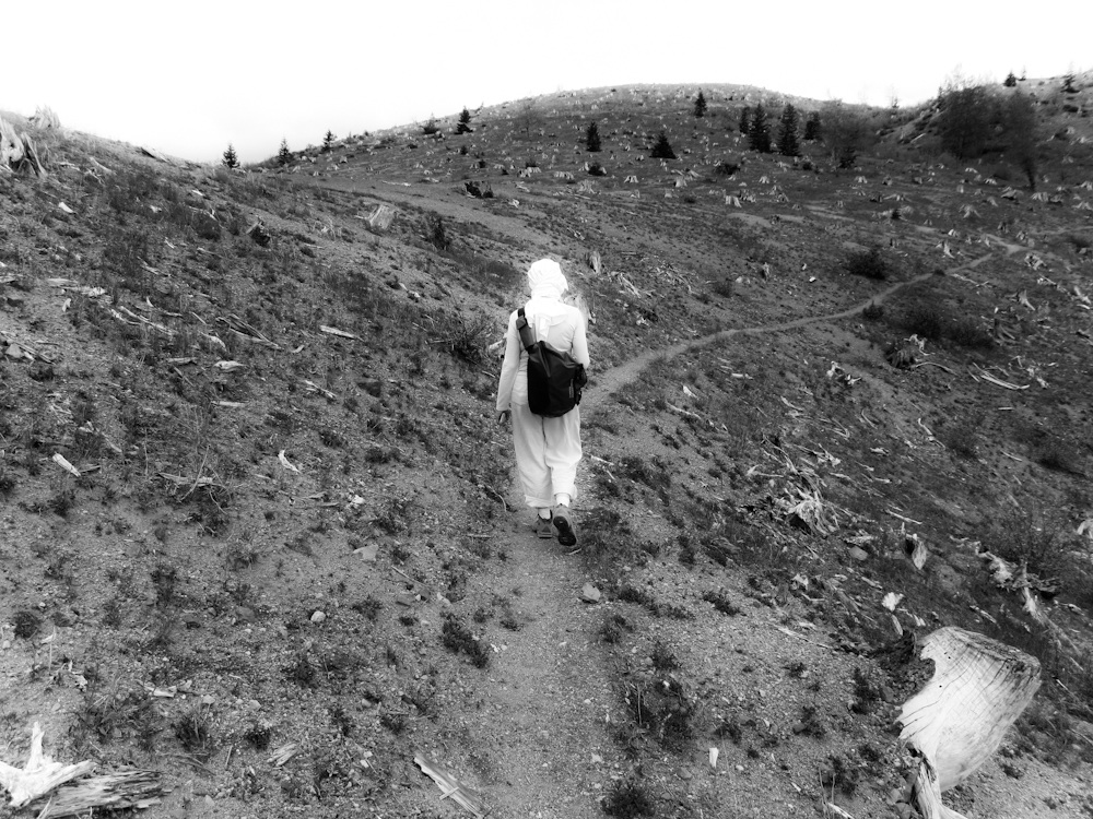 Hiker on trail at Mount St. Helens