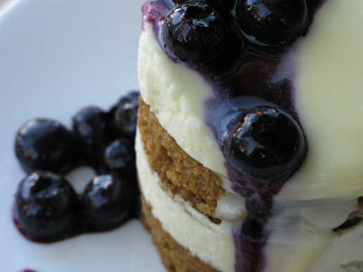 Lemon Ginger Mousse Cake with Blueberry Compote