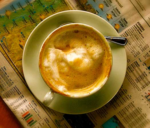 color photograph of a cappucino at breken kitchen