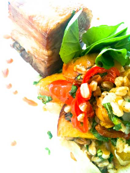 color photo of pork belly salad