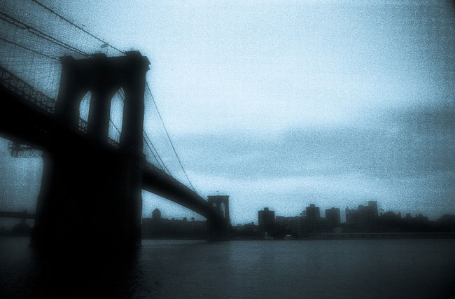 toned photograph of brooklyn bridge