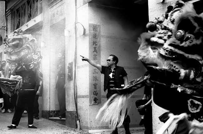 Chinatown celebration. Black and white photograph.