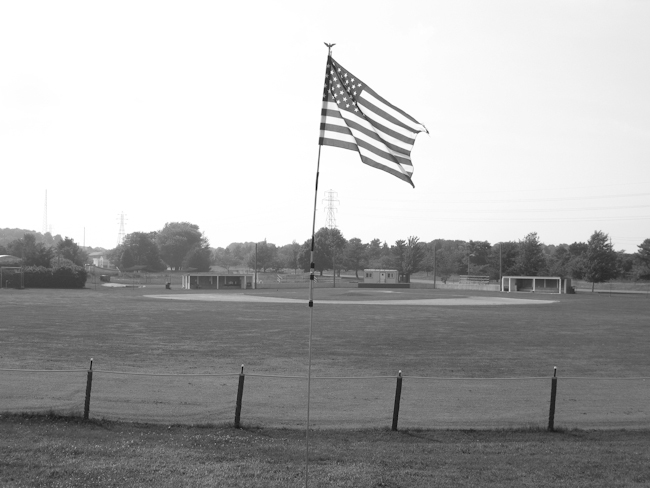 Baseball field, American flag