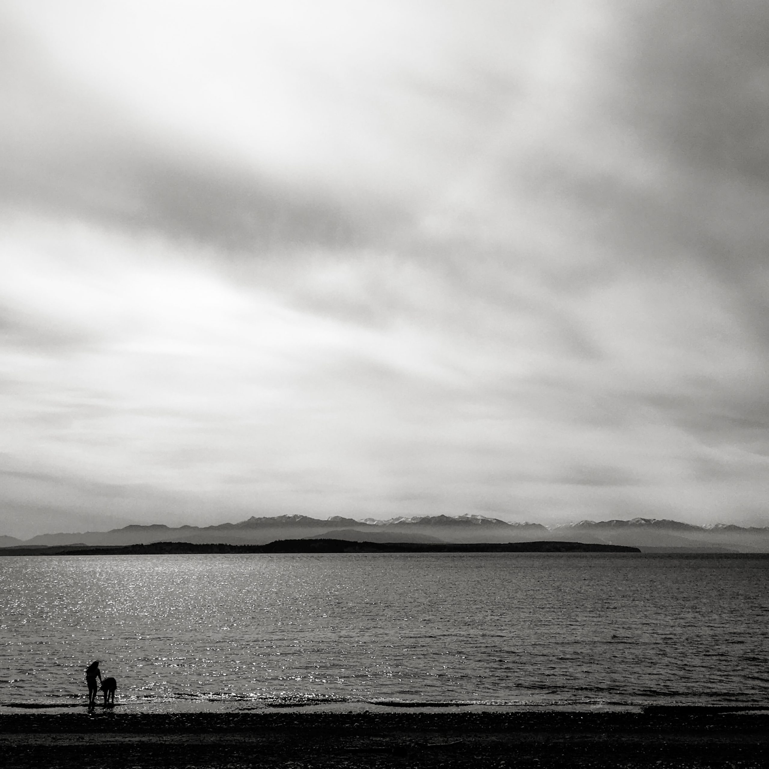 two silhouetted figures against the sea and a dramatic sky